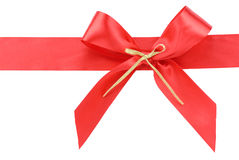 Red Gift Ribbon Bow. Isolated on White Royalty Free Stock Photography