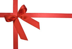Red Gift Ribbon and Bow. On white Stock Photos