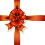 Red gift ribbon and bow  Royalty Free Stock Photography