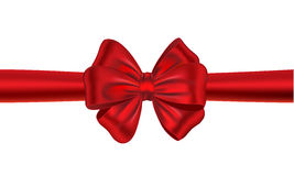 Red gift ribbon with bow. Red satin gift bow. Ribbon. Vector illustration stock illustration