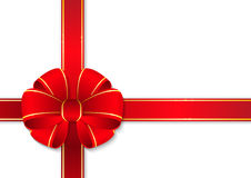 Red gift ribbon. With bow Stock Photography