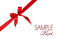 Red Gift Ribbon Bow. In Horizontal Placement Over White Background Easily Isolated for Your Project Stock Image