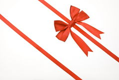 Red gift, ribbon, bow. Isolated on white Stock Image