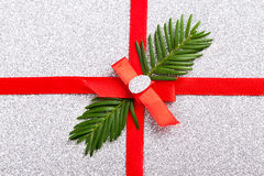 Red gift ribbon- bow. Backgrounds Royalty Free Stock Images
