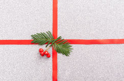 Red gift ribbon- bow. Backgrounds Stock Photography
