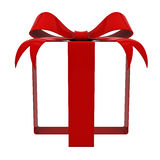 Red gift ribbon bow without box  on white background. 3D rendering Royalty Free Stock Photo