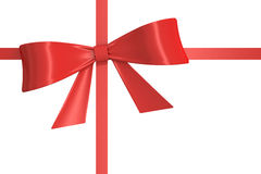 Red gift  ribbon, bow. 3D rendering. On white background Stock Photos