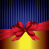 Red gift ribbon bow on gold and blue background. Red gift and bow illustration with copy space Stock Images