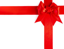 Red gift ribbon bow. Isolated on white background Royalty Free Stock Photo