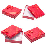Red gift with ribbon and bow isolated Stock Photos