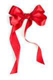 Red gift ribbon bow. Isolated on white background Royalty Free Stock Photos