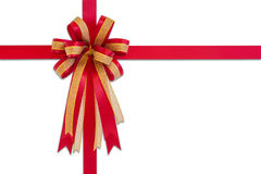 Red gift ribbon and bow, isolated on white background. Stock Photo