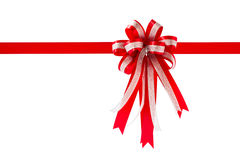 Red gift ribbon and bow, isolated on white background. Royalty Free Stock Photo