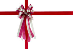 Red gift ribbon and bow, isolated on white background. Stock Photography