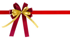 Red gift ribbon and bow, isolated on white background. Red gift ribbon and bow, isolated on white background , Clipping path included Royalty Free Stock Photo