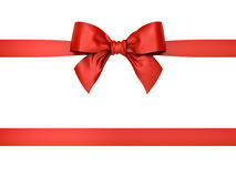 Red gift ribbon bow isolated on white background Stock Photo