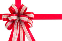 Red gift ribbon and bow, isolated on white background. Stock Images