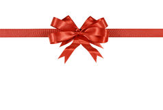 Red gift ribbon bow isolated on white background straight horizontal Royalty Free Stock Image