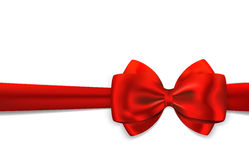 Red gift ribbon and bow. Red gift ribbon with luxurious bow  on white background. Vector illustration Stock Images