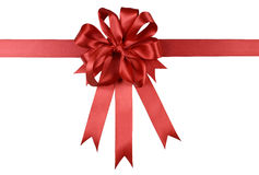 Red gift ribbon bow or rosette isolated on white background Royalty Free Stock Photography
