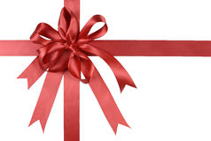 Red gift ribbon bow or rosette isolated on white background Royalty Free Stock Images