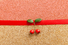 Red gift ribbon bow. On shiny background Stock Images