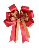 Red gift ribbon and bow on white. Background with clipping path Royalty Free Stock Photos