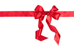 Red gift ribbon bow. On white background Stock Images