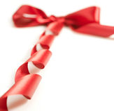 Red gift ribbon bow. On white background Royalty Free Stock Image