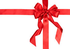 Red gift ribbon bow. On white background Stock Image