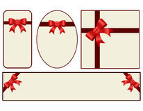 Red gift, ribbon, bow. On white background Royalty Free Stock Photography