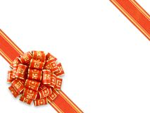 Red Gift Ribbon Over White stock images