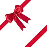Red Gift Ribbon. Shiny red ribbon on white background Royalty Free Stock Photos
