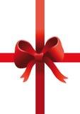 Red gift ribbon on white vector illustration