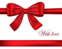Red gift ribbons with bow Royalty Free Stock Images