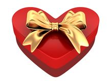 Red gift in shape heart. 3d illustration Royalty Free Stock Photo
