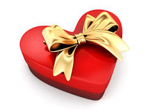 Red gift in shape heart Royalty Free Stock Photos