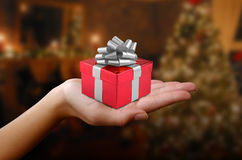 Red gift with silver bow Royalty Free Stock Photography