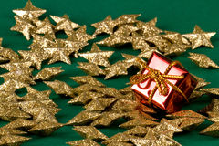 Red gift and stars royalty free stock photography