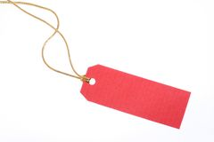 Red Gift Tag. With golden rope against white background Stock Photography