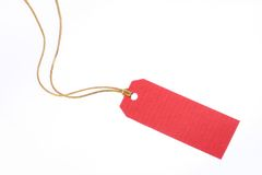 Red Gift Tag with Golden Rope Stock Photos
