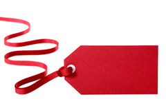 Red gift tag Stock Images