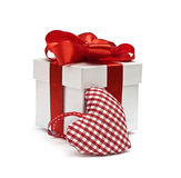 Red gift and textile checkered heart Stock Photos