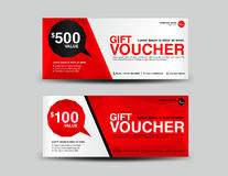 Red Gift Voucher, coupon design,ticket, banner,cards,polygon bac Royalty Free Stock Photography