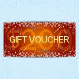 Red gift voucher. Red gift voucher with snowflakes and ribbons Royalty Free Stock Photo