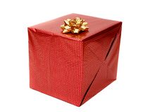 Red gift on white Stock Photo