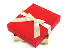 Red gift with white bow Royalty Free Stock Photography