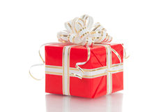 Red gift with white bow on a white background Stock Photo