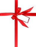 Red Gift Wrapped WIth Ribbon and Tag Stock Photography