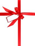 Red Gift Wrapped WIth Ribbon and Tag Royalty Free Stock Photo